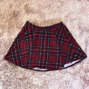 Red and black plaid mini skirt